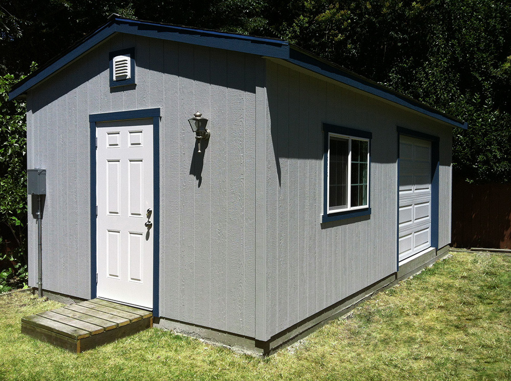The shed shop detached garage large workshop for Cheap garden office buildings